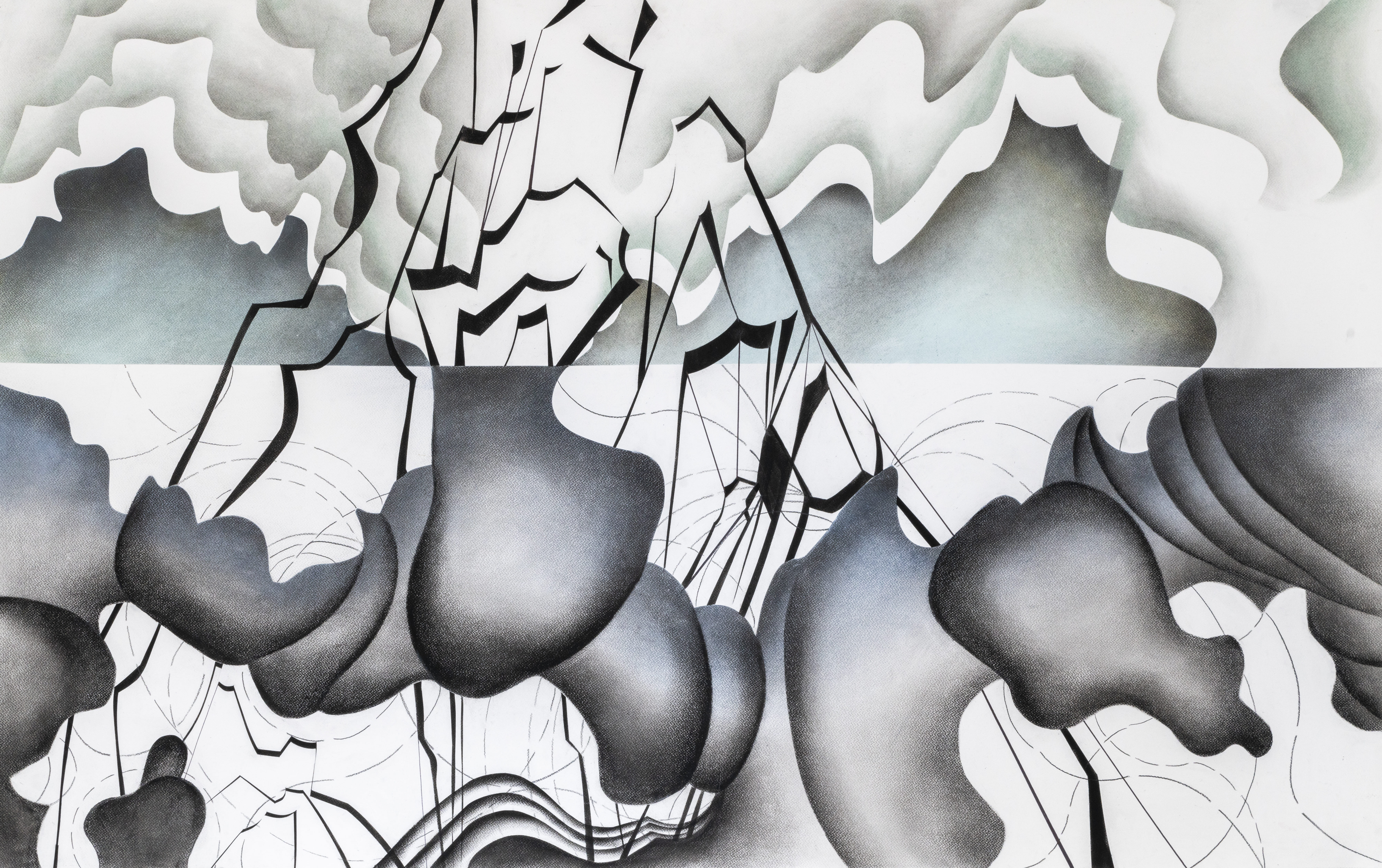 Judith Milberg: Life ist formed by the same material like mountains and clouds 2019, 90 x 150 cm