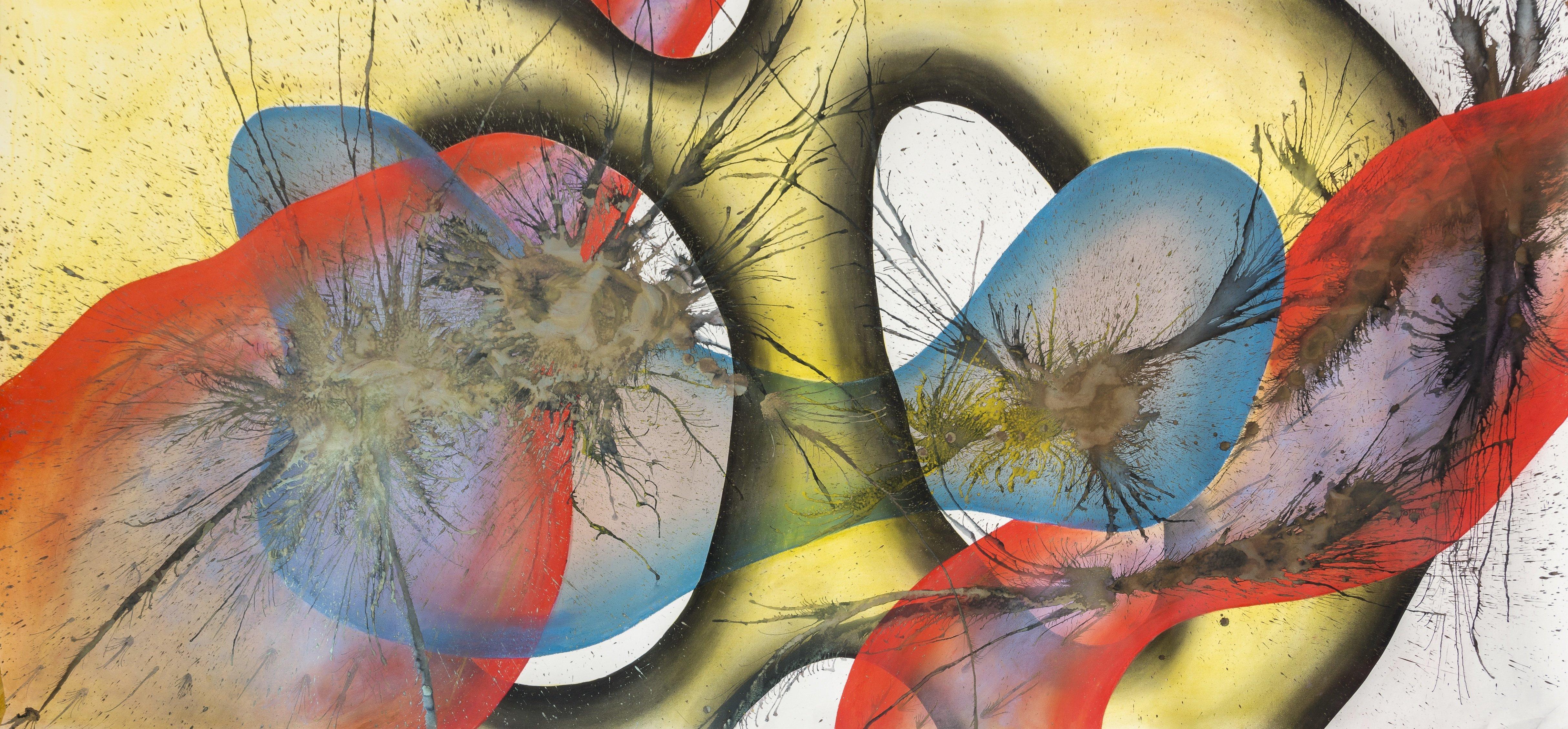 Judith Milberg: Kambrische Explosion, 2018, Pastell, Tusche und Pigmente auf Papier, 300 x 150 cm