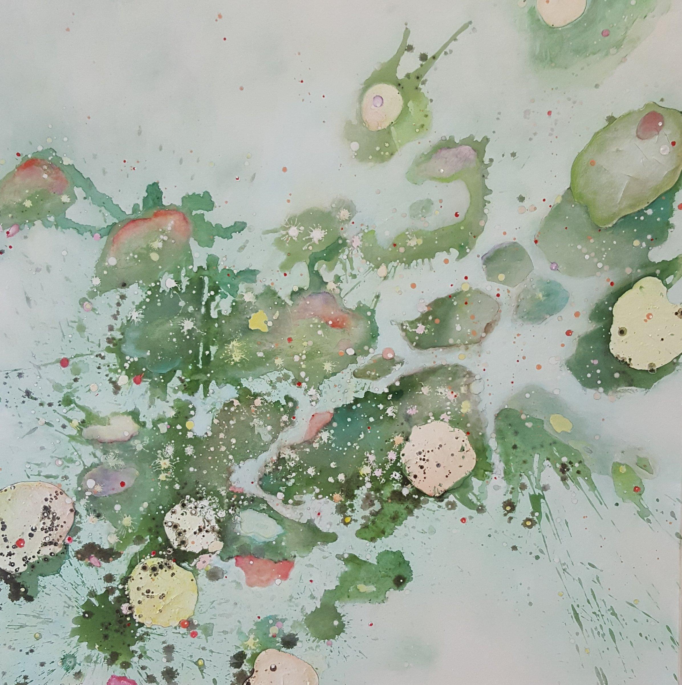 Sabine Endres: ohne Titel. Acryl, Öl und Stifte auf Leinwand, 100 x 100 cm, 2018