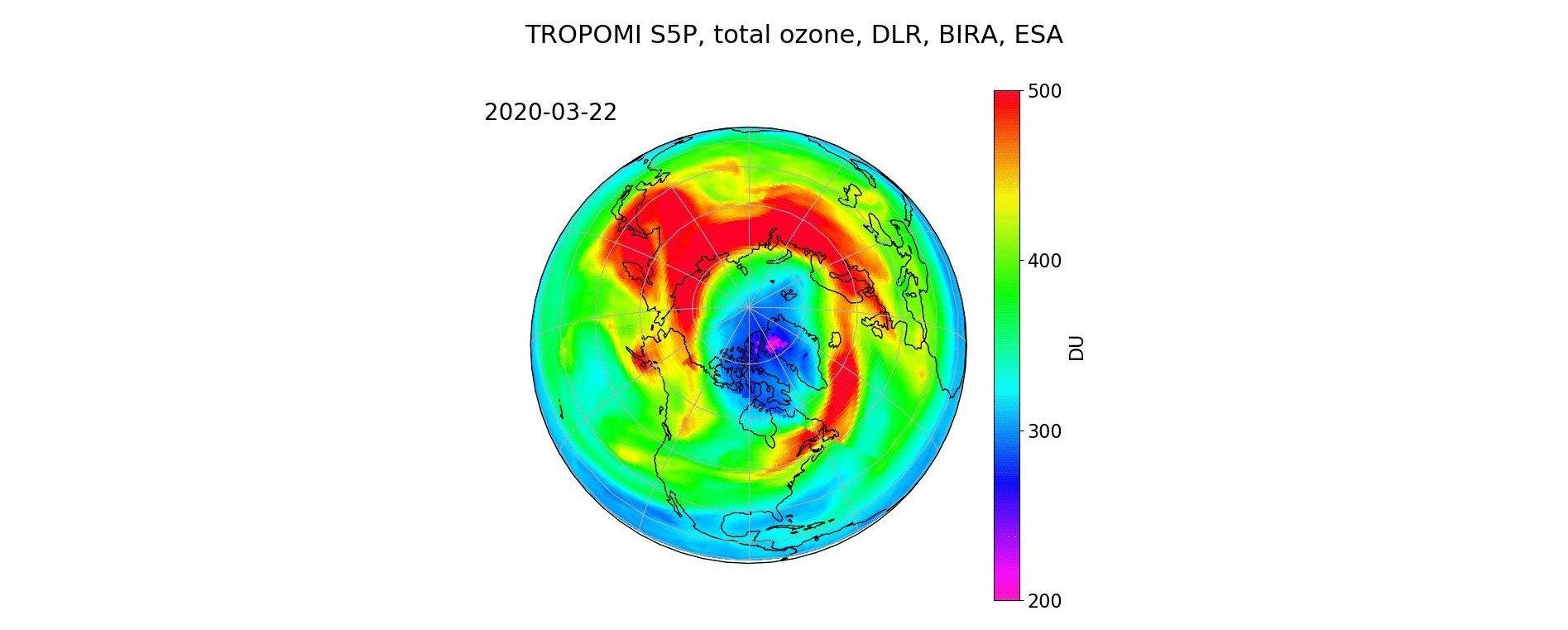März 2020: Ozonloch in der Arktis Bild 2/2, Credit: DLR/BIRA/ESA