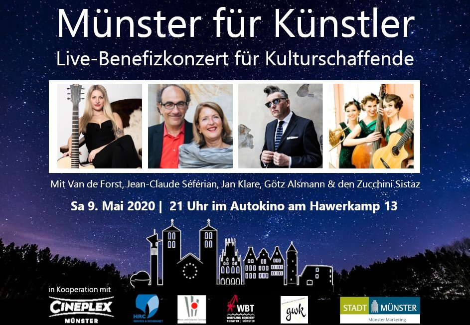 Pro PKW wird ein Eintritt von 55 € genommen, von denen jeweils 50 €  an die Spendenempfänger gehen. Zu weiteren Spenden wird aufgerufen. Karten sind erhältlich unter https://www.cineplex.de/muenster/