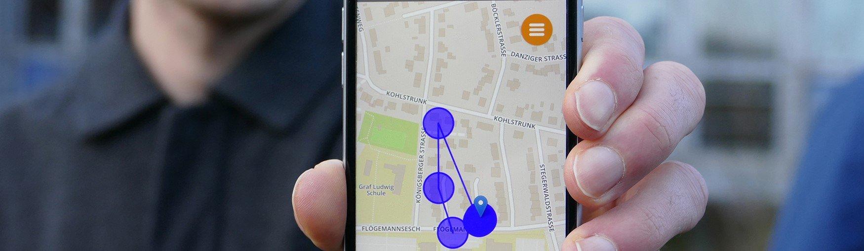 Ein GPS-Sensor überträgt zusätzlich den Standort des Fahrrads und ermöglicht dem Nutzer, die zurückgelegte Route nachzuverfolgen. (Foto: FH Münster/Jana Schiller)