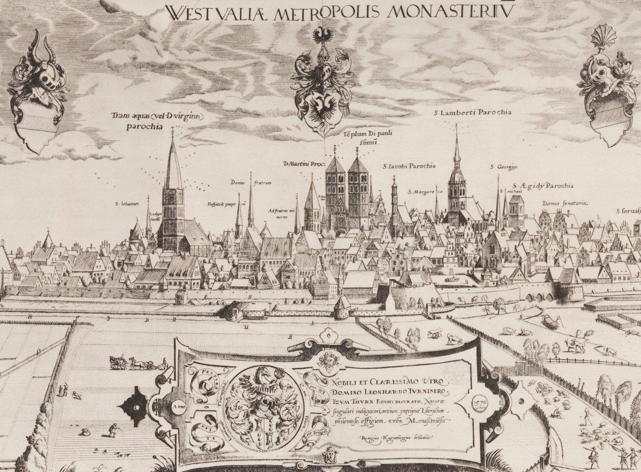 Abbildung: Ansicht der Stadt Münster. Heliogravüre nach dem Kupferstich von Remigius Hogenberg nach einer Zeichnung von Hermann tom Ring, Original 1570 Foto: Stadt Münster