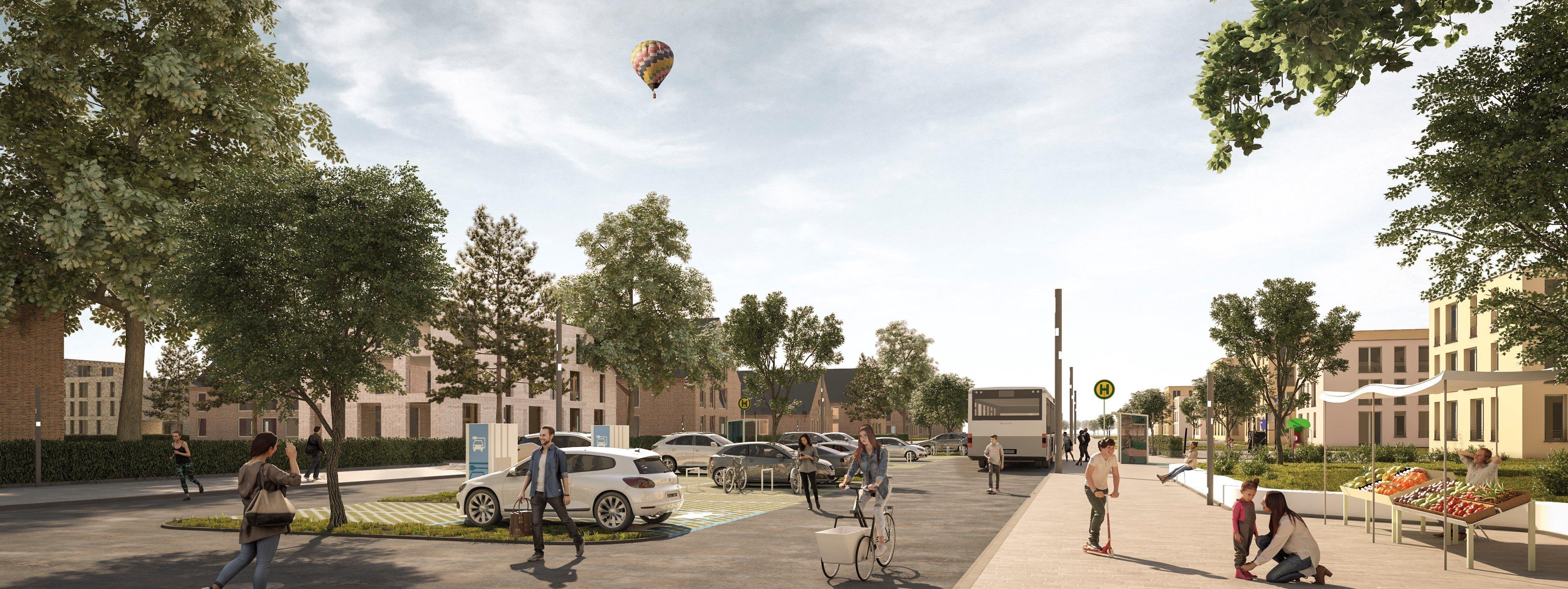 Busse, Parkplätze mit Elektro-Ladestationen und natürlich Fahrräder: Mobilität soll in den beiden neuen Quartieren möglichst klimafreundlich sein. Animation: avpgroup.
