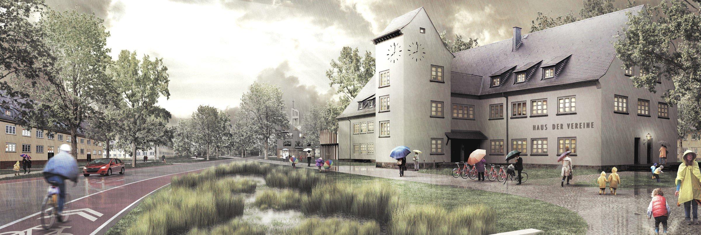 Versickern und verdunsten lassen statt zu versiegeln: Im Oxford-Quartier soll Regenwasser auf eigens angelegten Grünflächen zum Mikro-Klima beitragen. Foto: Animation: Arge Oxford.