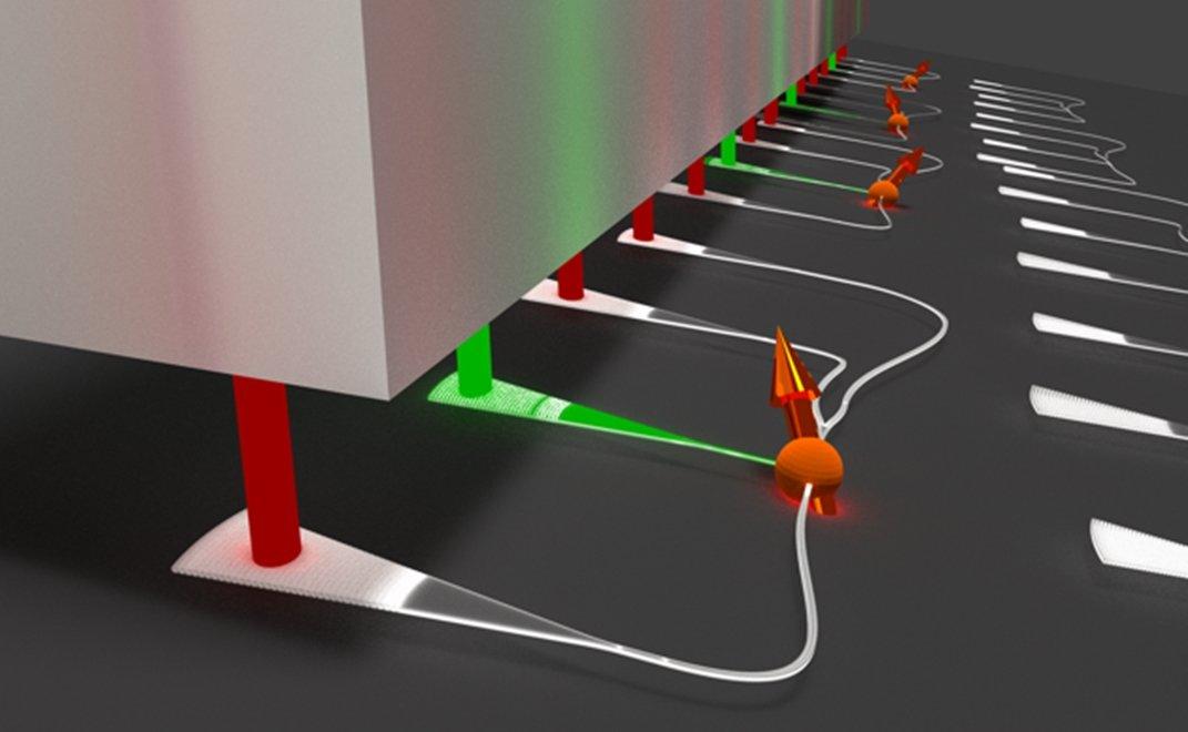 Nanophotonische Integration zur gleichzeitigen Kontrolle vieler quantenmechanischer Spins in Nanodiamanten.  Copyright:P. Schrinner/AG Schuck