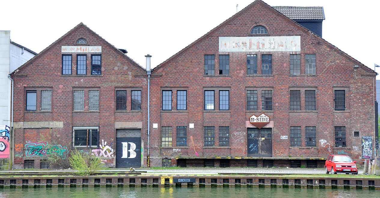 Der ehemalige Hill-Speicher soll für die Initiative B-Side und den Ruderverein umgebaut werden. Foto: Wirtschaftsförderung Münster GmbH/Martin Rühl