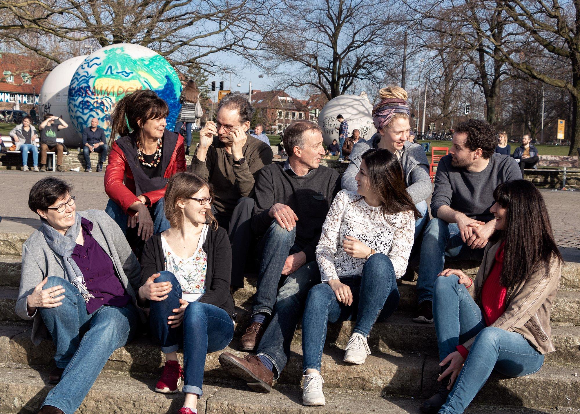 Das Team Münster nachhaltig: v. links n. rechts: Christiane Spickmann, Kerstin Ramsauer, Silvia Scholz, Tobias Daur, Martin Linnemann, Barfrin Krad, Julia Machmer, Benedikt Lennartz, Dr. Brigitte Riemann (Foto: Wilken)