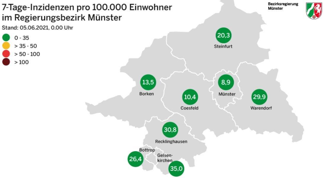 Grafik: © Bezirksregierung Münster-  Inzidenzzahlen vom Vortag, also Samstag